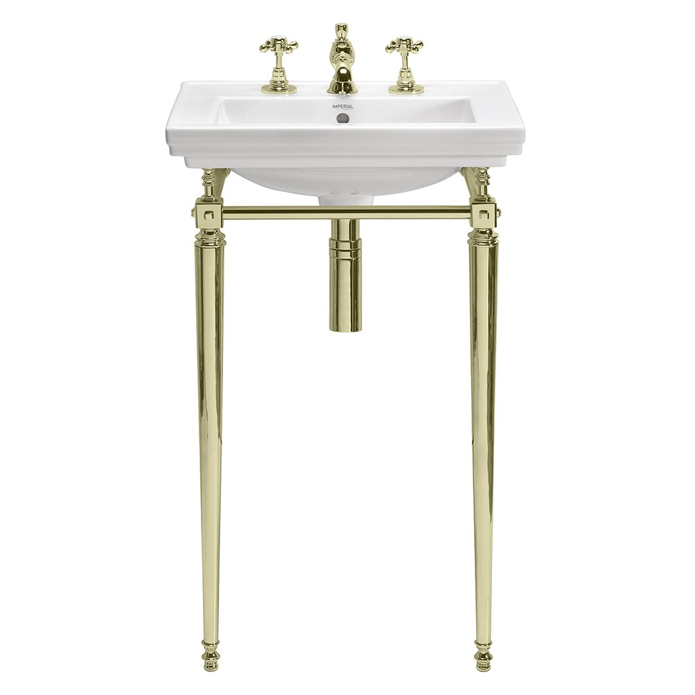 Astoria Deco Small Basin Stand with Towel Rail antique gold