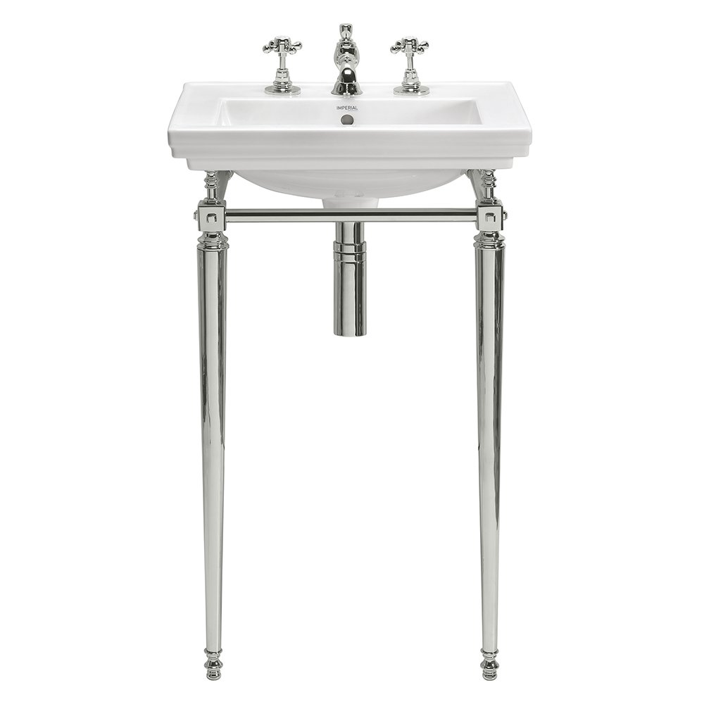 Astoria Deco Small Basin Stand with Towel Rail polished nickel