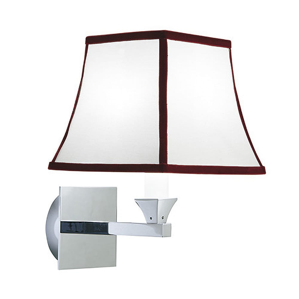 Astoria wall light with the Oxford Ruby trim shade