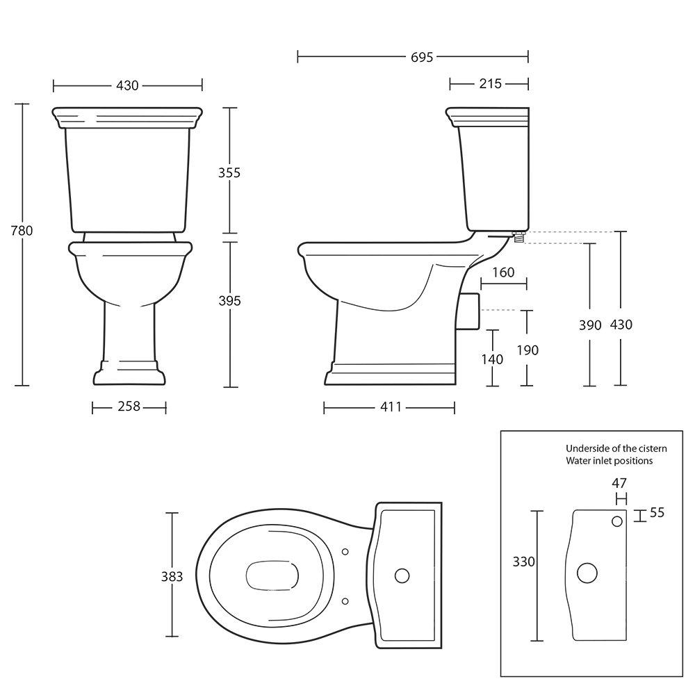 Bergier Close Coupled Pan & Cistern tech spec