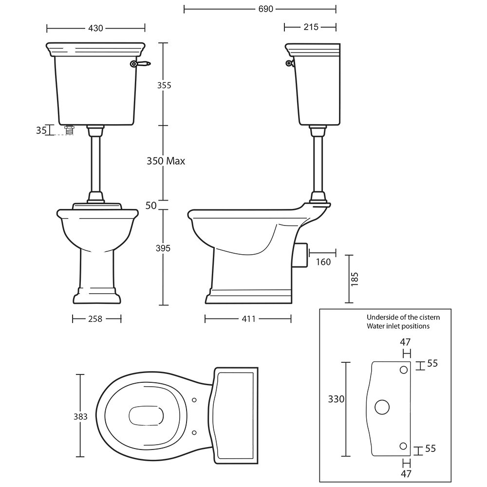 Bergier Low level cistern with lever - tech spec