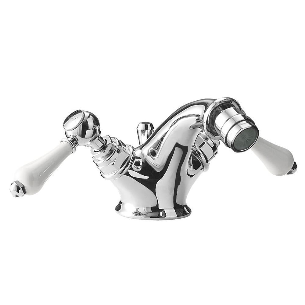 Regent Monobloc bidet mixer with white ceramic lever complete with pop up waste