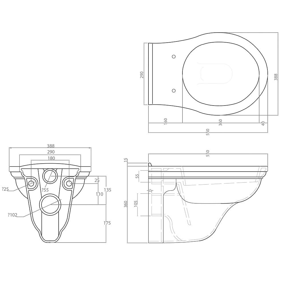 Carlyon Wall Hung WC tech specs
