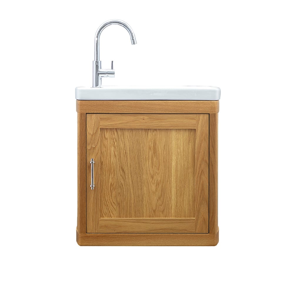Carlyon Thurlestone 1 door cloak vanity unit LH Natural Oak