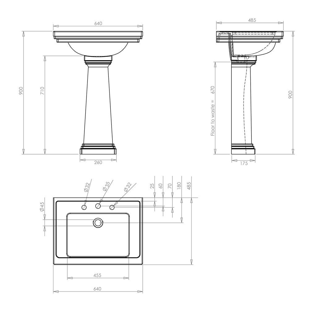 Astoria Deco Large Basin - 640mm