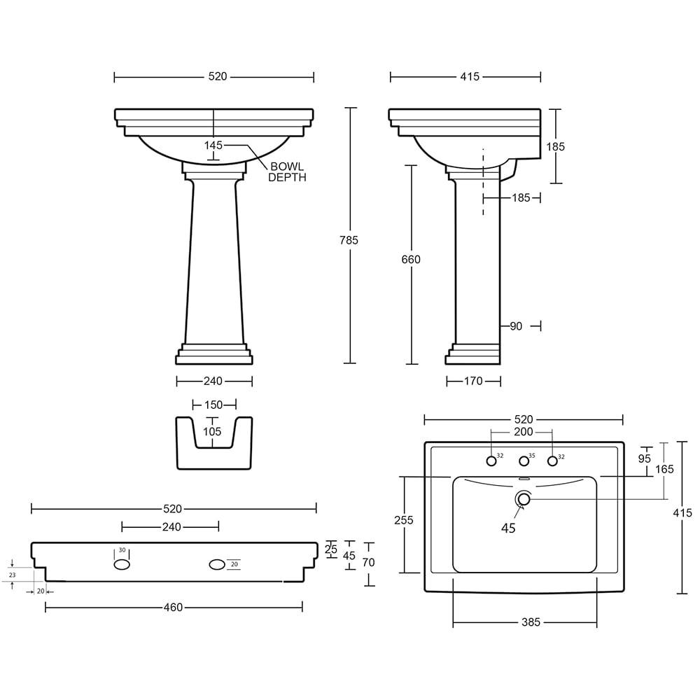 Astoria Deco Small basin - 520mm