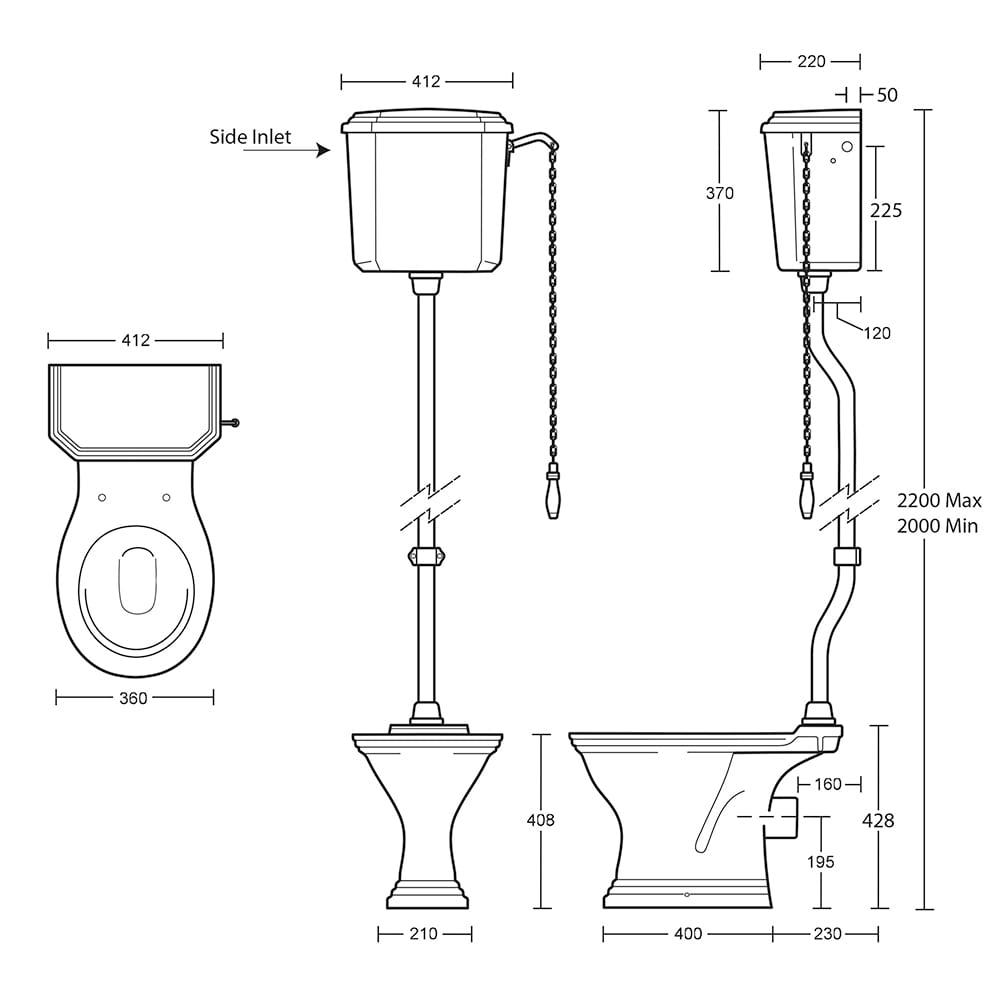 Astoria Deco High Level Cistern & Fittings