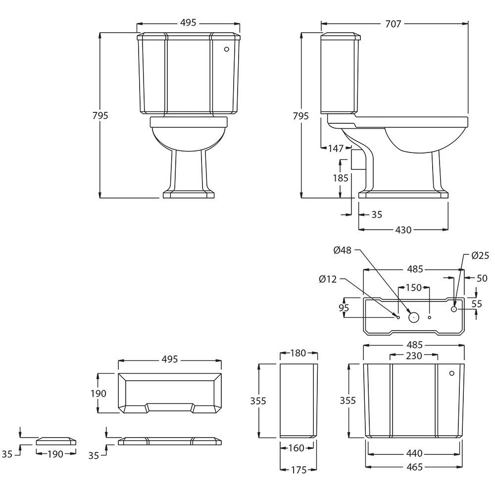 Chelsea Close Coupled pan & cistern tech spec