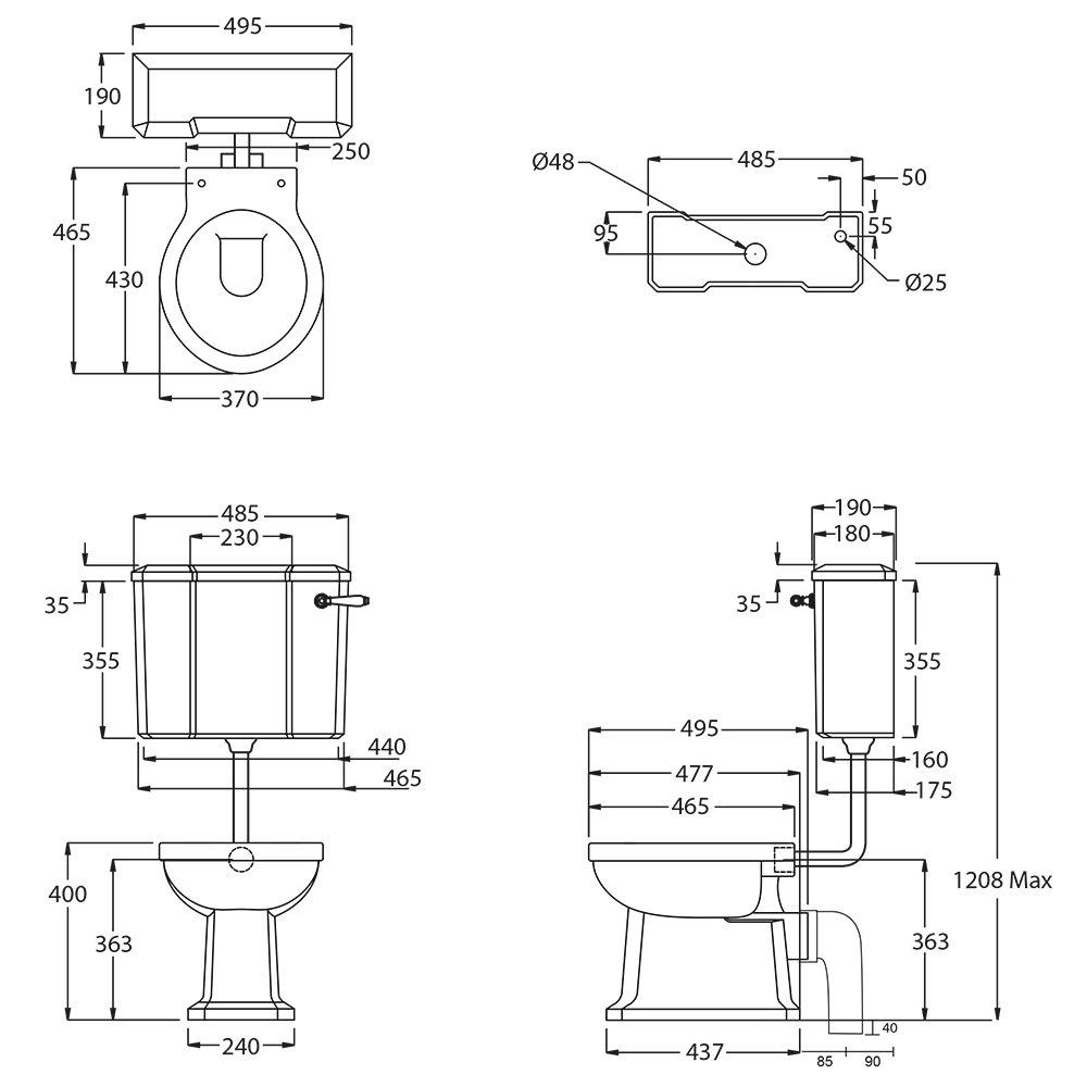 Chelsea Low level cistern tech spec