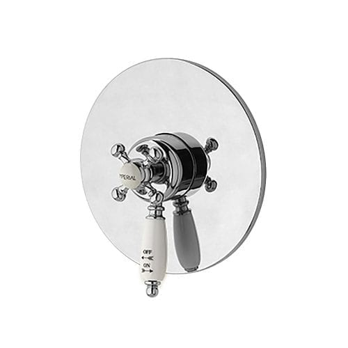 Concealed Westminster thermostatic control valve (white handle) chrome