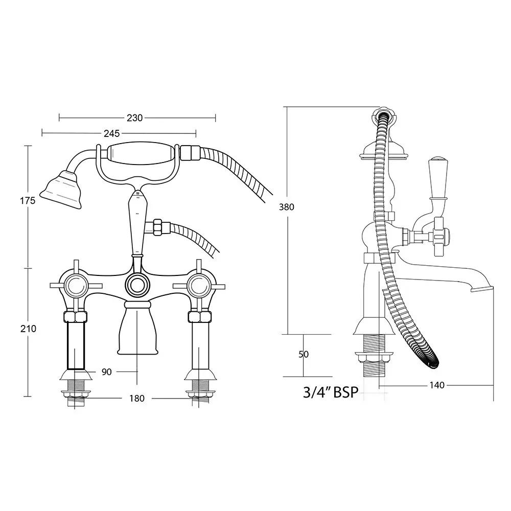 Edwardian-Deck-Mounted-bath-Shower-Mix-with-Brass-lever-tech-specs