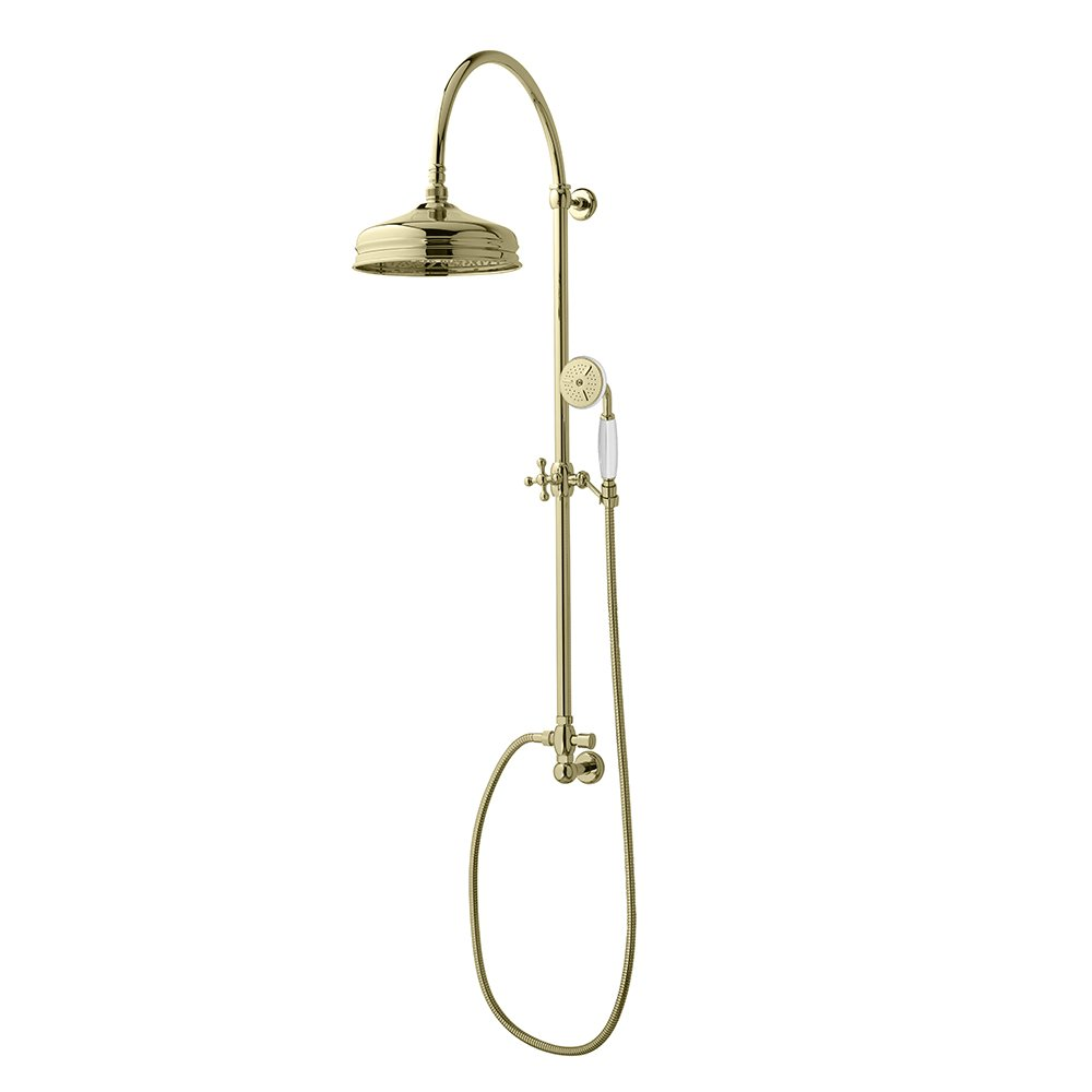 Edwardian Rigid Riser with Dart Head and White handset in Antique Gold