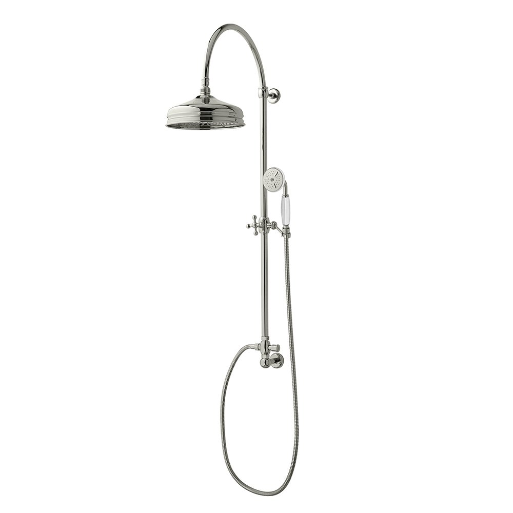 Edwardian Rigid Riser with Dart Head and White handset in Polished Nickel