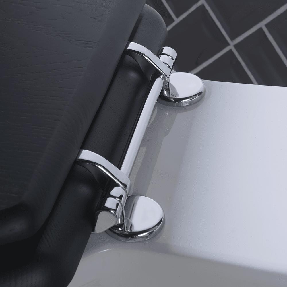 Etoile solid wood toilet seat - with standard hinge chrome hinge