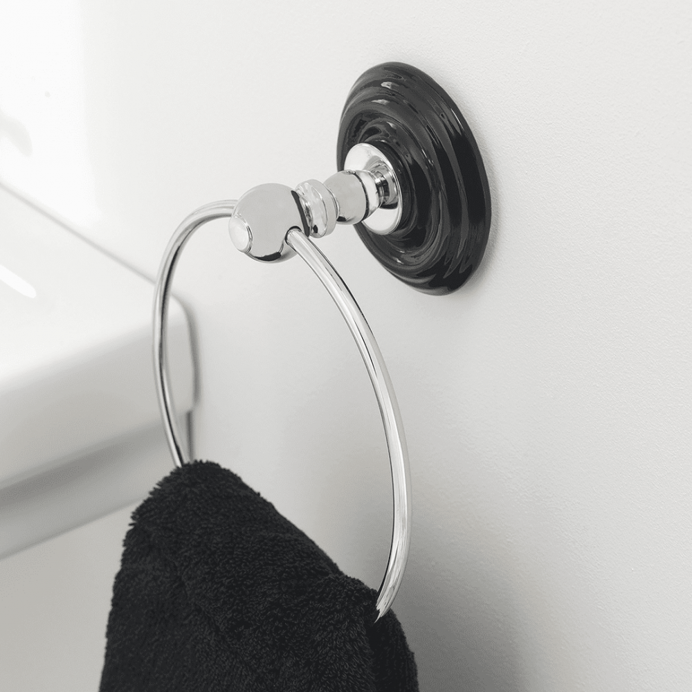 Oxford wall mounted towel ring in chrome