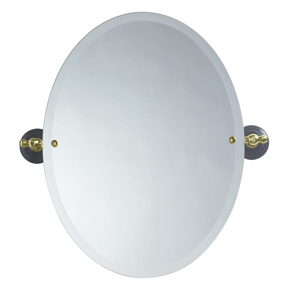 Oxford oval bevelled mirror antique gold