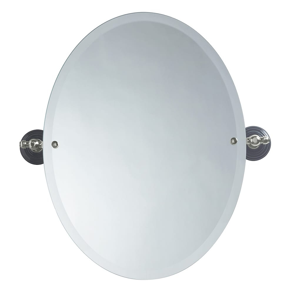 Oxford oval bevelled mirror polished nickel