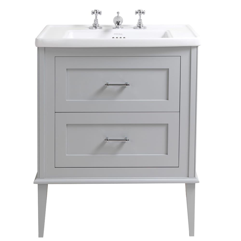 Radcliffe Thurlestone wall hung 2 drawer vanity unit grey ecru legs
