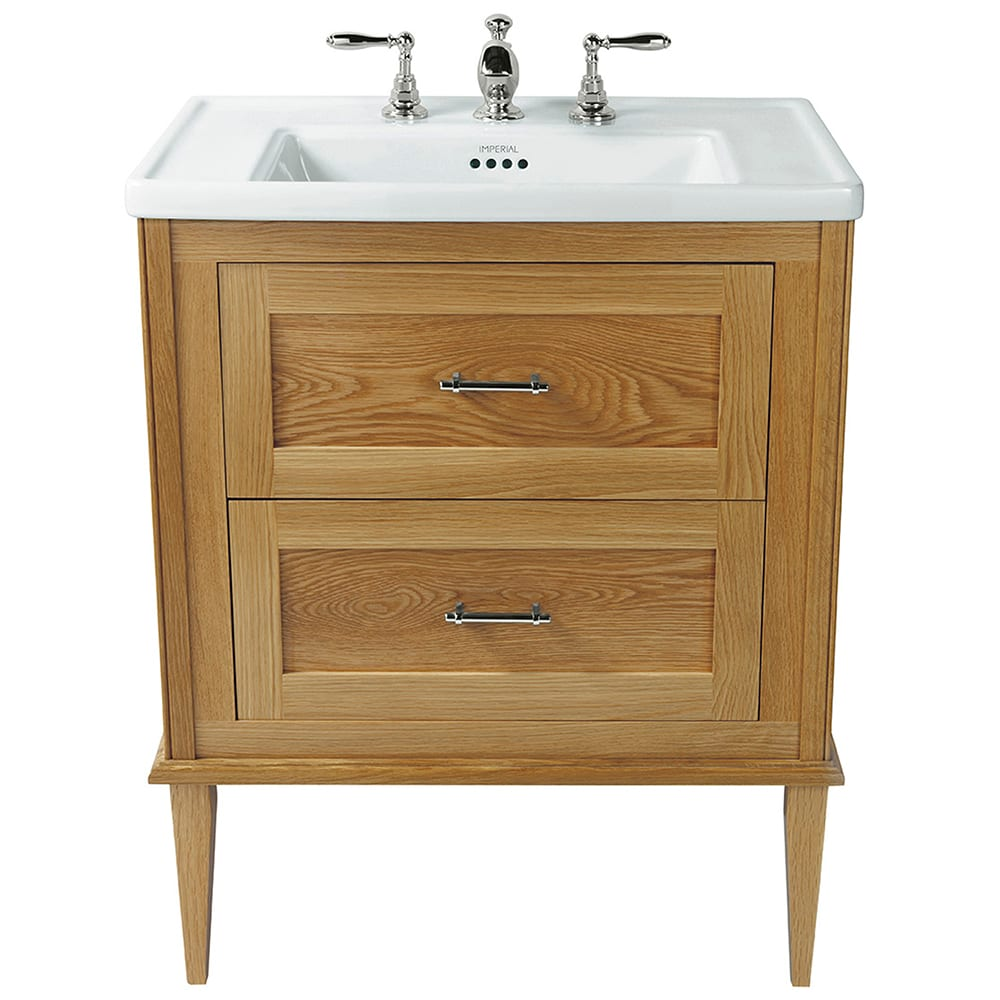 Radcliffe Thurlestone wall hung 2 drawer vanity unit natural oak with legs