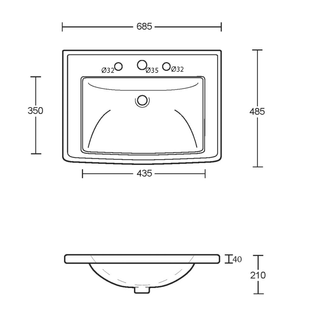 Radcliffe Vanity Basin Tech Drawing