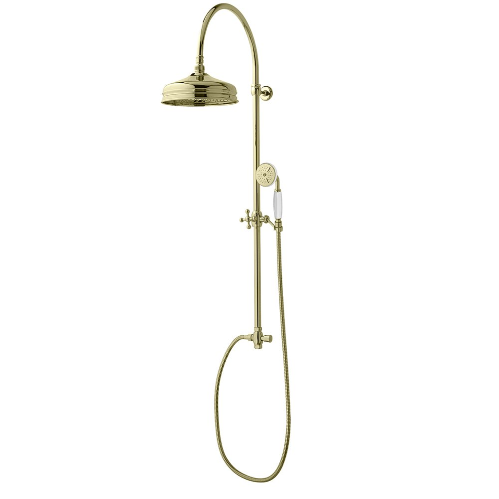 Westminster Rigid Riser with Dart Head and White handset in Antique Gold
