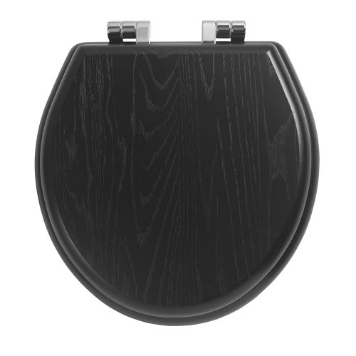 Windsor solid wood toilet seat with soft-close hinges