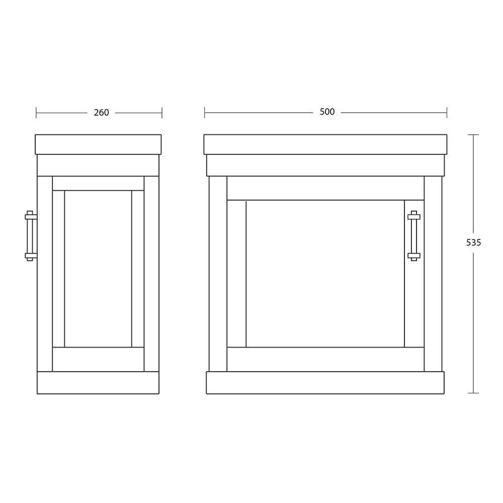 Carlyon Thurlestone 1 Door Cloak Vanity Unit R/H