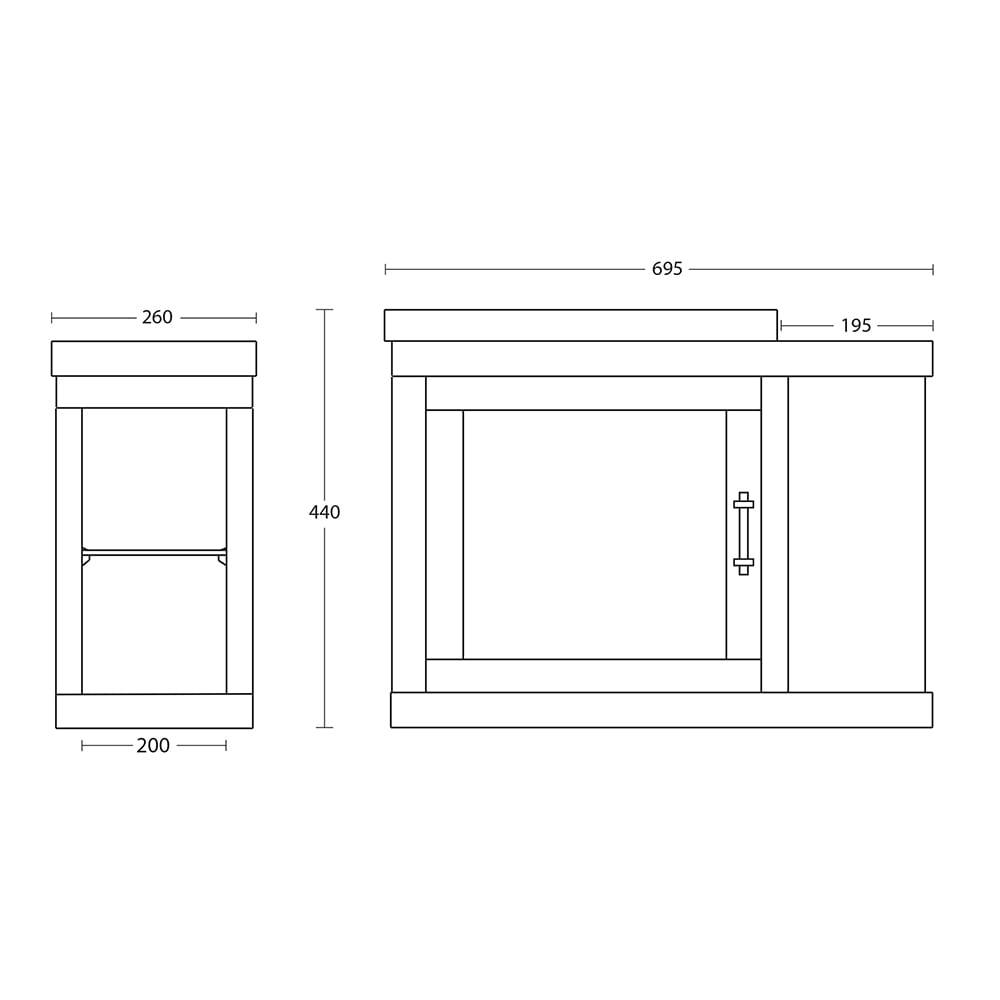 Thurlestone Cloak Offset Vanity Unit R/H