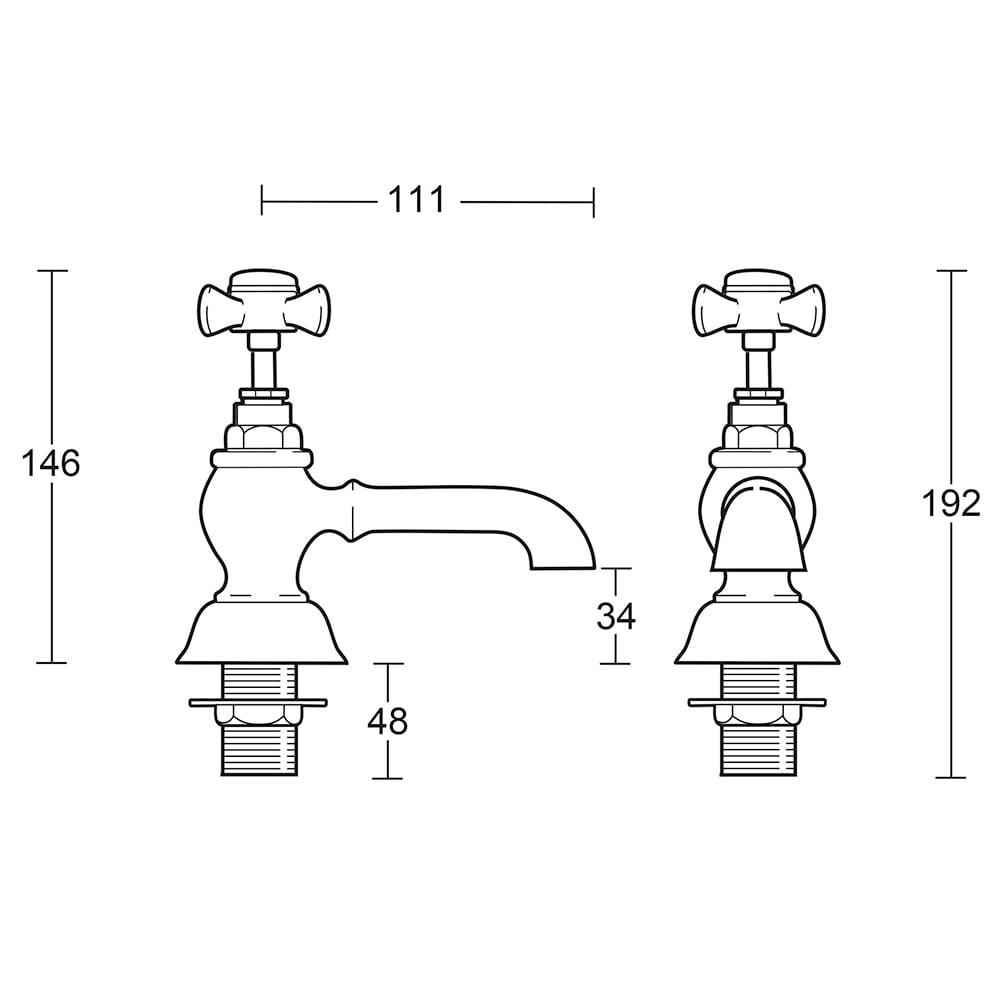 "Edwardian 3/4"" bath pillar taps"
